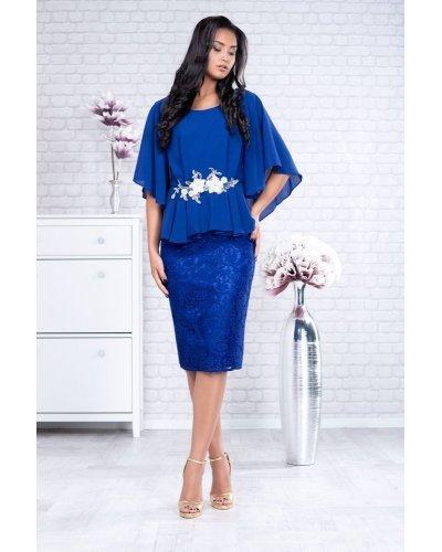 Rochie de ocazie XXL midi cu dantela si voal albastru regal Annie