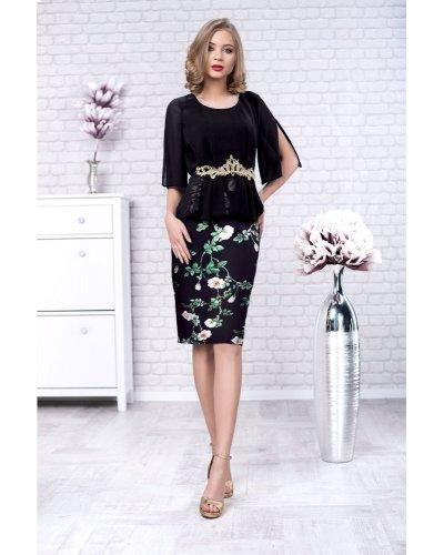 Rochie de ocazie eleganta din crep cu flori si voal negru Nasira