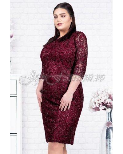 Rochie de ocazie plus size dantela burgundy Abha