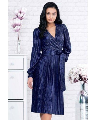 Rochie de ocazie midi plisata bleumarin metalizat Kayla