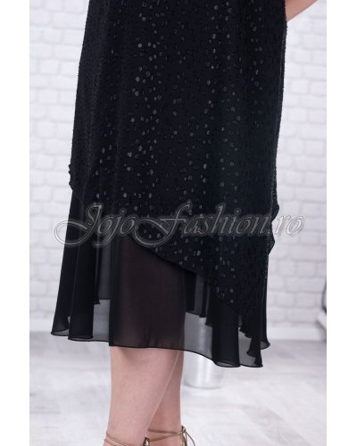 Rochie de seara XXL neagra din tul cu fir lame Anissa
