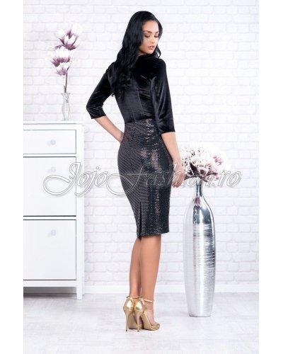 Rochie de seara catifea neagra si paiete oglinda Per Donna Akira
