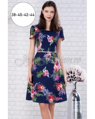Rochie de zi midi bleumarin cu flori multicolore Nastya