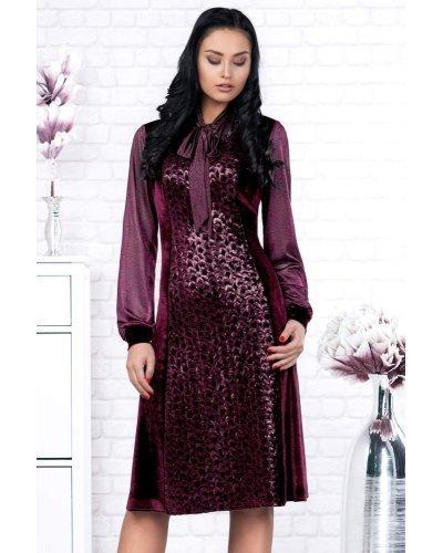 Rochie eleganta din catifea cu paiete marsala Adelita