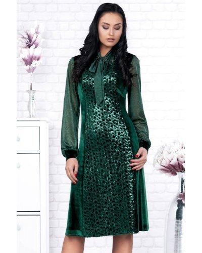 Rochie eleganta din catifea cu paiete verzi Adelita
