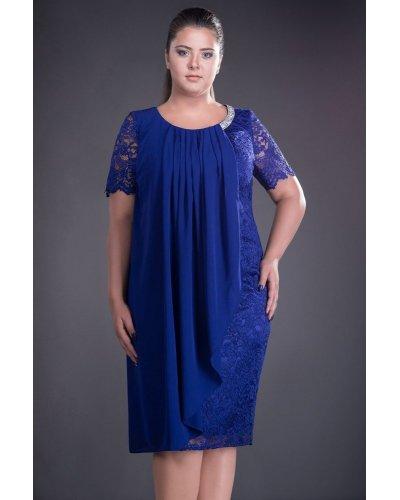 Rochie marime mare albastra din dantela si voal Carla