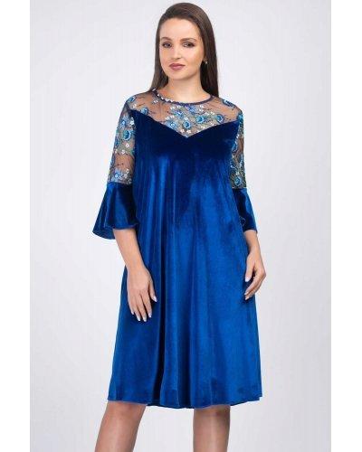 Rochie marime mare din catifea albastru regal LunaraVelvet
