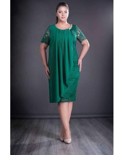 Rochie marime mare verde din dantela si voal Carla