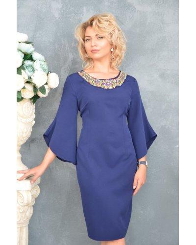 Rochie de zi eleganta bleumarin croi drept Sabina