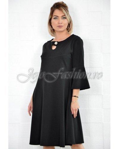 Rochie de zi eleganta midi croi A neagra Nedia