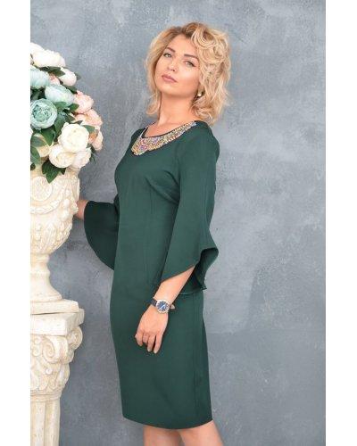 Rochie de zi eleganta verde croi drept Sabina