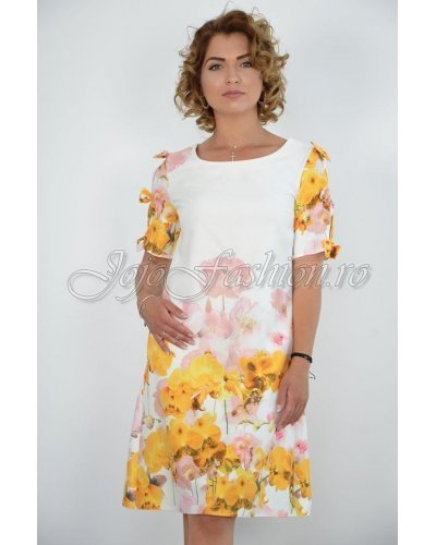 Rochie de zi midi croi A alba cu flori galbene Barbara