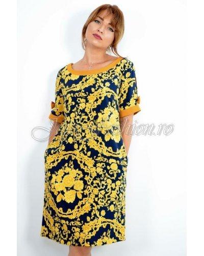 Rochie de zi midi cu imprimeu baroc galben Perla Donna Alberta