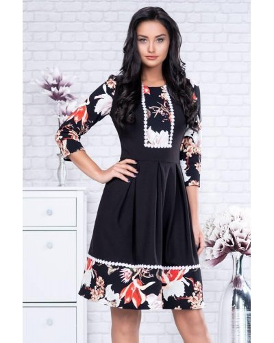 Rochie de zi midi neagra cu model traditional Marieta