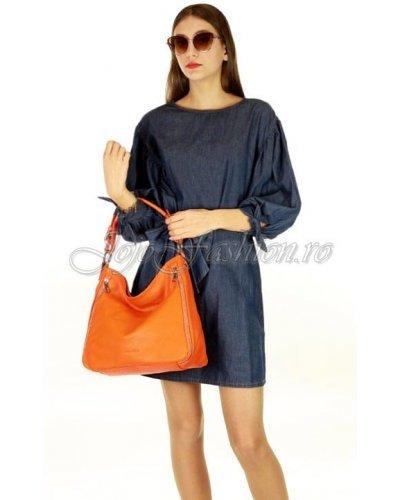 Geanta dama piele naturala orange Livia