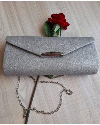 Geanta plic glitter argintiu Glam