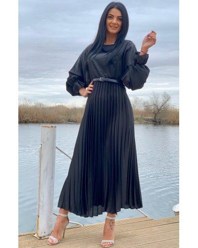 Rochie de ocazie lunga din satin negru plisata Alicia