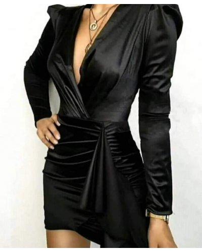 Rochie de seara drapata neagra scurta Aislin