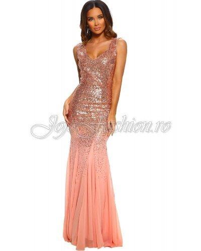 Rochie de seara lunga din paiete roz si tul Oscar