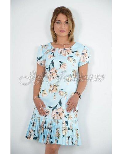 Rochie de zi midi cu volan plisat bleu cu flori  Daliana