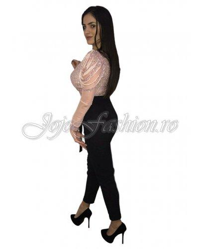 Salopeta de ocazie neagra cu paiete roz si maneci franjurate Yasmine