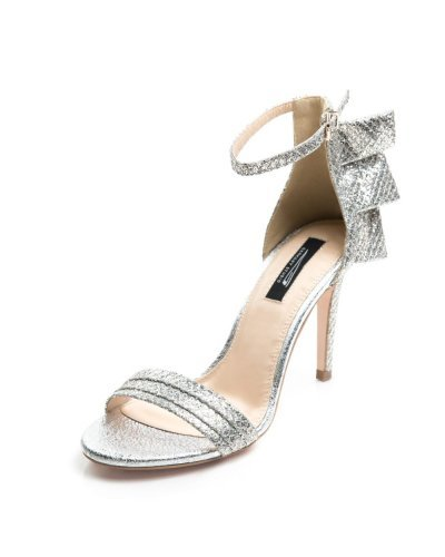 Sandale de dama de ocazie din piele naturala argintie Glitter