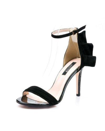 Sandale de dama de ocazie din piele naturala neagra Glitter
