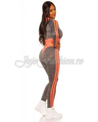 Trening de dama mulat gri cu corai neon Lidia