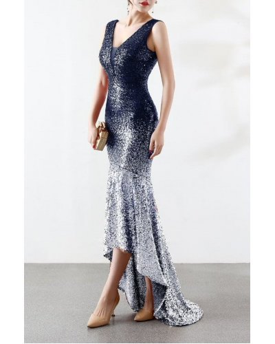 Rochie de ocazie asimetrica cu trena din paiete bleumarin si argintii Sirena