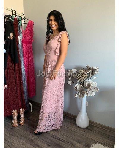 Rochie de ocazie lunga din dantela roz pudrat Elimar