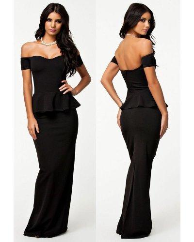 Rochie de ocazie lunga neagra cu peplum Sarina