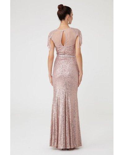 Rochie de seara lunga din paiete roz pudrat Francesca