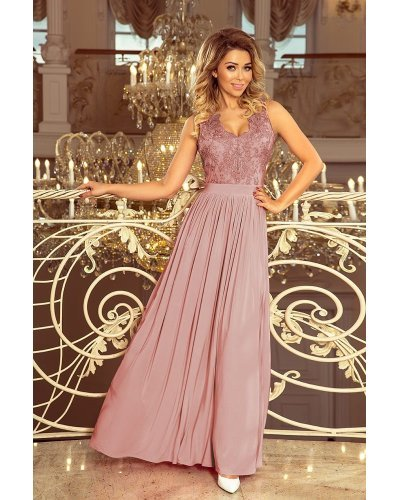 Rochie eleganta roz taupe lunga vaporoasa cu broderie pe bust Feodora