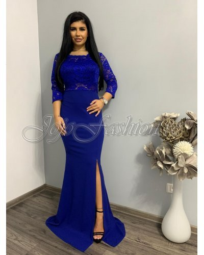 Rochie de seara lunga albastra cu dantela Serafina