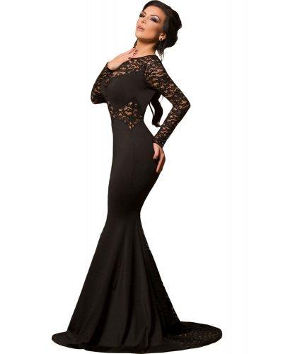 Rochie de seara lunga sirena cu dantela neagra Nissa