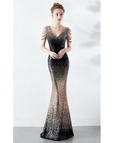 Rochie de ocazie sirena paiete aurii negre Starlight