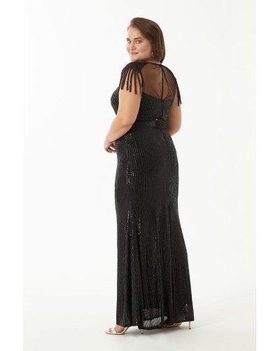 Rochie de seara lunga XXL din paiete negre Francesca