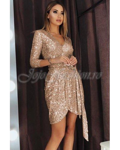 Rochie de ocazie scurta suprapusa cu paiete aurii Sasha