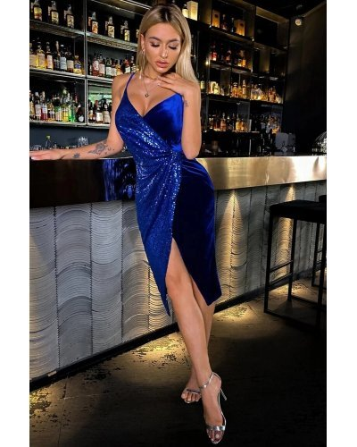 Rochie de seara cu paiete si catifea albastra Precious
