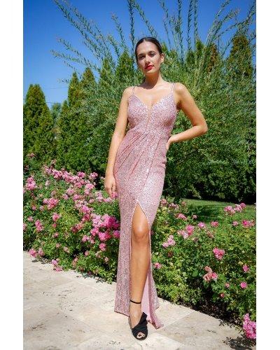 Rochie de seara lunga din paiete roz Celine