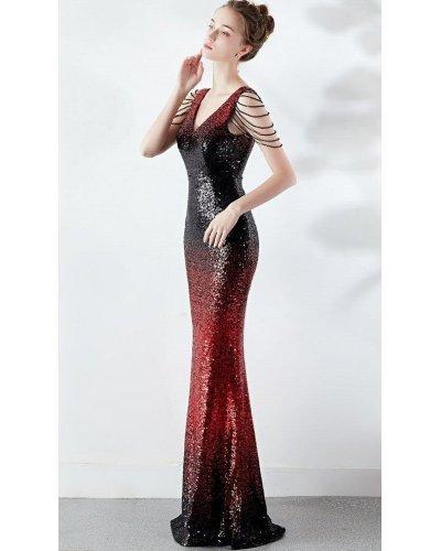 Rochie de ocazie tip sirena din paiete rosii si negre Starlight