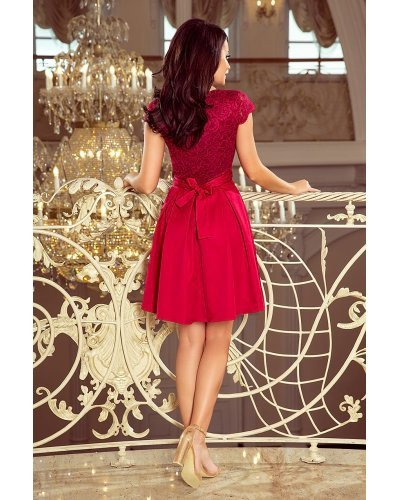 Rochie de ocazie scurta cu dantela burgundy Vivian