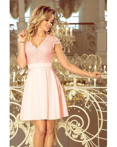 Rochie de ocazie scurta cu dantela roz Vivian