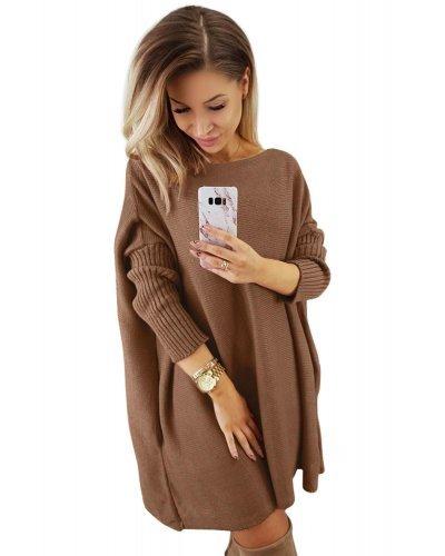 Rochie de zi tricotata oversize scurta bej inchis Mirena