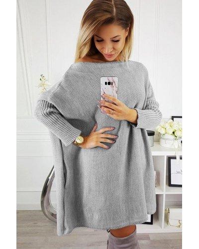 Rochie de zi tricotata oversize scurta gri Mirena