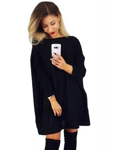 Rochie de zi tricotata oversize scurta neagra Mirena