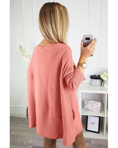 Rochie de zi tricotata oversize scurta roz Mirena
