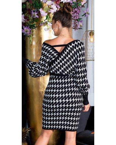 Rochie tricotata alb-negru suprapusa cu maneci oversize Luiza