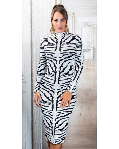 Rochie tricotata alba de toamna animal print zebra Armina