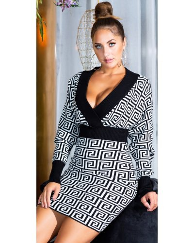 Rochie tricotata de toamna alb-negru cu maneci lungi Serena